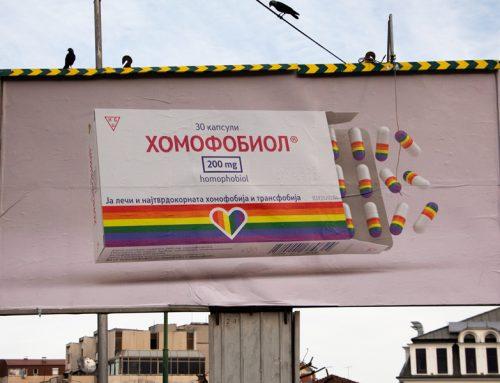 """Билбордите """"Хомофобиол"""" против хомофобијата и трансфобијата во Битола"""